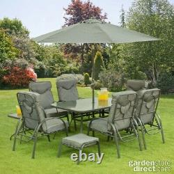 11 Piece Garden Furniture Set Table Chairs Foot Stools & Parasol Matching Grey