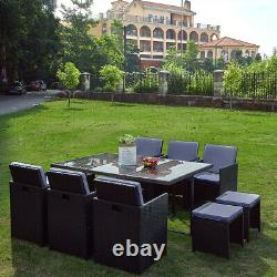 11 Pieces Rattan Garden Furniture Set Grey Cushion Cube Dining Chairs Table