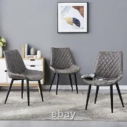 2/4/6 Dining Chairs Distressed Faux Leather Padded Seat Accent Chair Living Room
