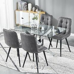 2/4/6 Dining Chairs Distressed Faux Suede Fabric Black Metal Legs Kitchen Room