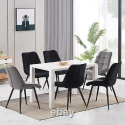 2 4 Dining Chairs Set Velvet Padded Seat Metal Leg Kitchen Dining Room Office UK