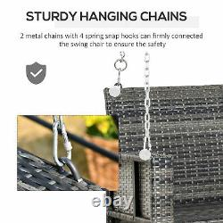 2 Seater Patio Rattan Swing Chair Hanging Chair Garden Loveseat Bench with Cushion