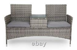 2 Seater Rattan Companion Seat Table Chair Conservatory Loveseat Garden Bench