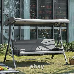 2-in-1 Patio 3 Seater Swing Chair Hammock with Cushion Adjustable Canopy Garden