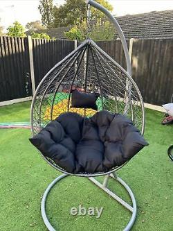 2 x PREMIUM Large Rattan Swing Egg Chairs BRAND NEW still Packed Black/grey