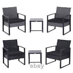 3 Pieces Rattan Dining Set Patio Bistro Table Chair Conversation Set with Cushion