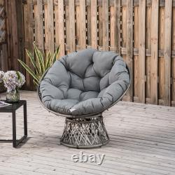 360° Swivel Rattan Papasan Moon Bowl Chair Round Outdoor with Padded Cushion