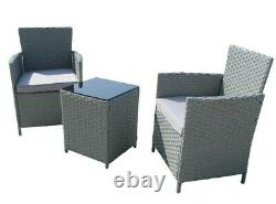 3PCS Outdoor Wicker Patio Rattan Garden Furniture Set with Chairs Cushion Table