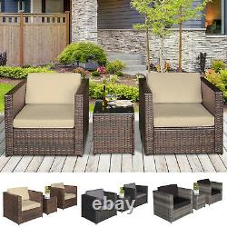 3Pcs Patio 2 Seater Rattan Sofa Table Set Garden Furniture with Cushions Balcony