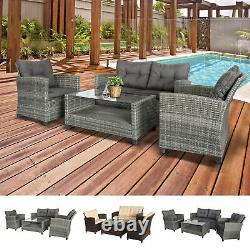 4 PCS Garden Patio Furniture Wicker Chair Set Coffee Table with Cushions