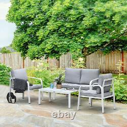 4 Pcs Aluminium Garden Dining Chairs Sofa Glass Top Table Set with Cushions White