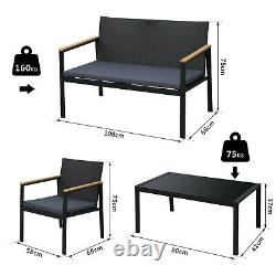 4 Pcs PE Rattan Furniture Set with 3 Cushioned Chairs Glass Tabletop Table Grey