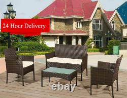 4 Piece Rattan Garden Furniture Set With Chairs Table Patio Outdoor Conservatory