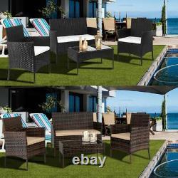 4-Piece Rattan Garden Set Furniture Sets Chair Sofa Table Set Garden Patio UK