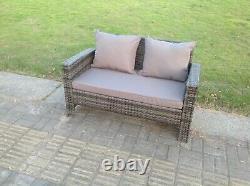 4 Seater Grey Mixed Rattan Garden Furniture Sofa Set Chair Table Set Outdoor