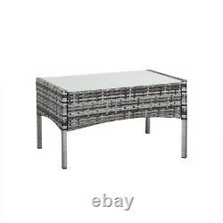 4 piece Rattan Garden Furniture Set Chair Mixgrey Wicker Cushion Sofa Table