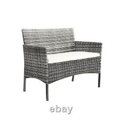 4 pieces Rattan Garden Furniture Set Chair Mixgrey Wicker with Cushion Sofa Table