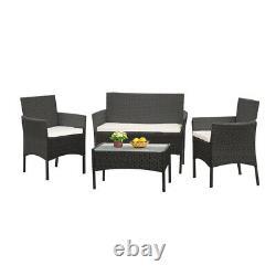 4Pcs/Set Rattan Table+Chair Set Garden Furniture Set Sofa Patio Outdoor Hotel