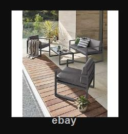 4pc Contemporary Grey Cushioned Lounge Garden Patio Set COLLECT ONLY CW1