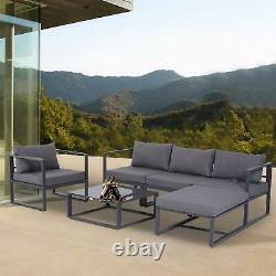 5 Seat Corner Sofa Chairs Large Garden Set Coffee Table Outdoor Patio Furniture