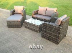 5 Seat Wicker Rattan Sofa Set Garden Furniture Reclining Footstool Grey Patio