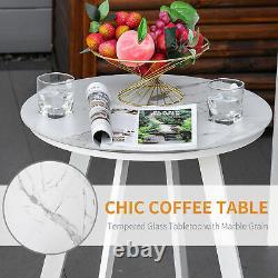 5PCs Garden Reclining Chair Set Footstool Coffee Table Cushion Adjustable Back