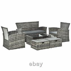 6 PCS Outdoor Patio Furniture Wicker Chair Set Coffee Table with Cushions