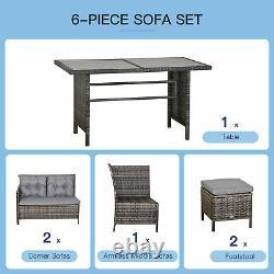 6 PCs Patio Wicker Corner Dining Set Rattan Chair Stool Table Set Cushioned Grey