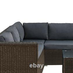 6 Pieces Brown Rattan Furniture Set Garden Corner Sofa Table Chair Cushion