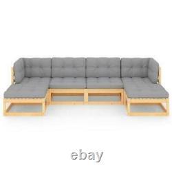6 Set Garden OUTDOOR CORNER Sofa Lounge Bench GREY CUSHIONS Seater chairs wood