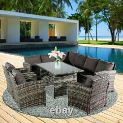 6Pcs Patio Rattan Seating Garden Furniture Set Table Chairs with Cushions 9 Seater