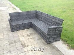 7 Seater rattan corner sofa set oblong coffee table chair outdoor furniture grey