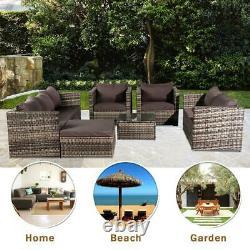 8 Seater Grey Rattan Corner Sofa Chair Table Outdoor Garden Furniture Patio Set