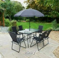 8PC Garden Patio Furniture Set Outdoor Grey Rectangular Table Chairs & Parasol