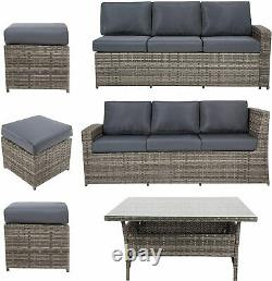 9 Seat Rattan Garden Furniture Corner Sofa Dining Sets Outdoor Patio With Stools