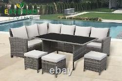 9 Seater Rattan Garden Furniture Dining Set with Corner Sofa & Table. Brown/Grey