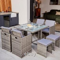 ABLO 8 Seater Rattan Cube Dining set