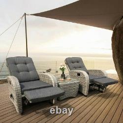 Bellevue Rattan Rocking Garden Chair Set Reclining Armchairs Glass Top Table