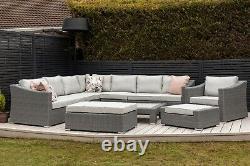 Bellissima Roma Luxury Large Nine Piece Modular Corner Rattan Sofa Set