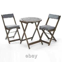 Bistro Set Grey Oiled Folding Garden Table And Chairs FSC Sustainable Hardwood