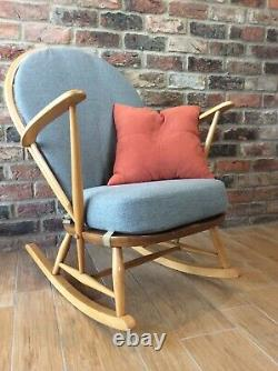 Blonde Ercol grandfather rocking chair model 315 with new cushions