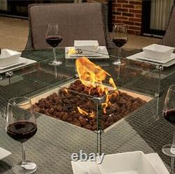 Bracken Outdoors Washington 8 Seat Round Rattan Garden Furniture Set + Fire Pit