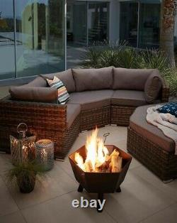 California Curved Sofa/Day Bed Garden- 7-10 People IN HIGH DEMAND Grey/Natural