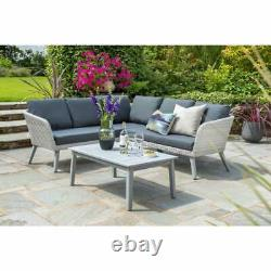 Chedworth Rattan Garden Furniture Sets Grey Wicker Weave With Arcacia Wood Legs