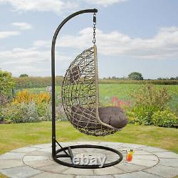 Cocoon Hanging Egg Chair Swing Garden Furniture In Or Outdoor Grey / Latte