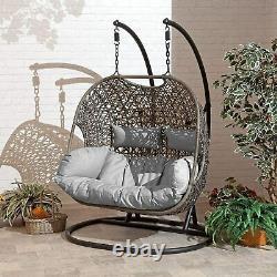 Double Cocoon Chair Swing Wicker Rattan Hanging Garden Furniture Grey Cushion