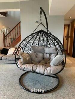 Double Egg Swing Chair With Base, Stand & Grey Cushions