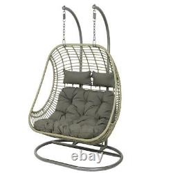 Double Grey Wicker Hanging Seat Egg Chair Luxury Garden Furniture with Cushions