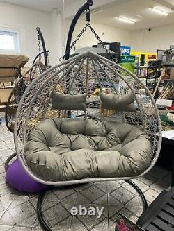 Double Hanging Egg Chair Brand New XXL Swing Patio Grey Cocoon