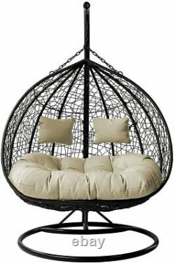 Double Rattan Garden Hanging Egg Chair Relaxing Patio Swing Hammock 2 Seater